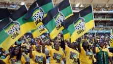 Supporters of South Africa's President Jacob Zuma's ruling African National Congress (ANC) cheer during their party's final election rally in Soweto