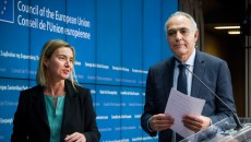 Federica-Mogherini-and-Salaheddine-Mezouar-in-Brussels