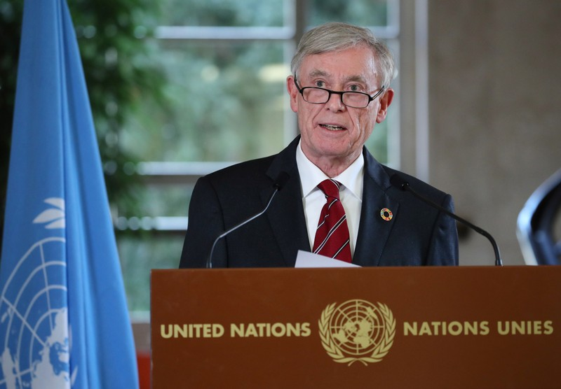 Koehler, Personal Envoy of the Secretary General of the United Nations to the parties to the conflict in Western Sahara, attends a news conference in Geneva
